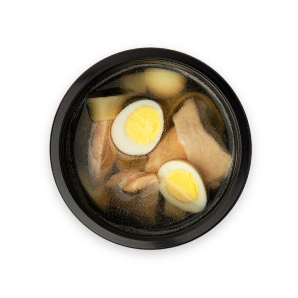 Бульон с яйцом, курочкой и лапшой