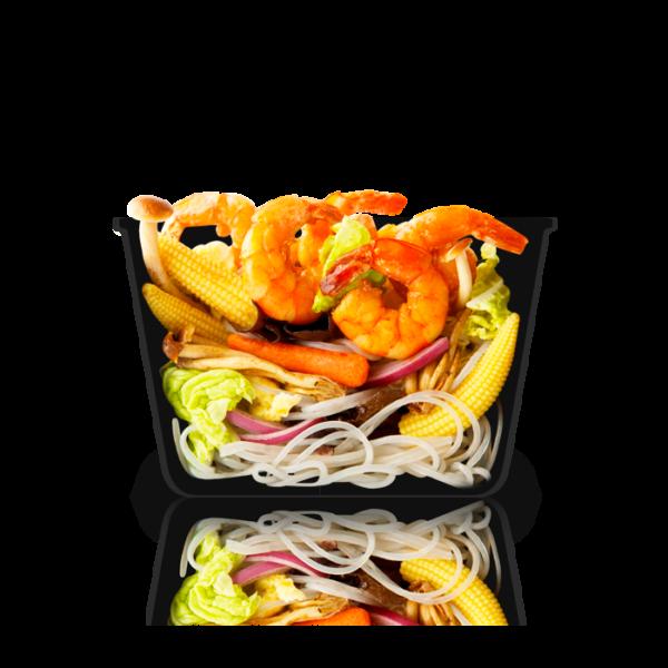 Бататовая лапша с креветками