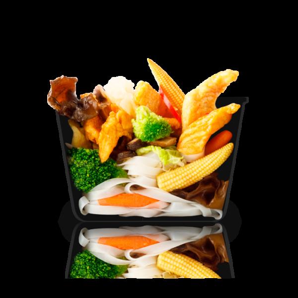 Рисовая лапша с курицей абури